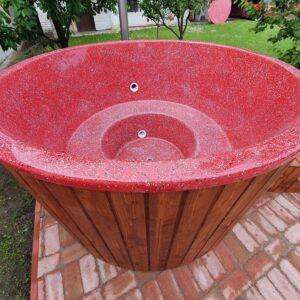Piros (RAL 3031, 2m, csillámos) szigetelt dézsafürdő, dió (barna) faburkolattal, kályhával, tetővel, lépcsővel stb.
